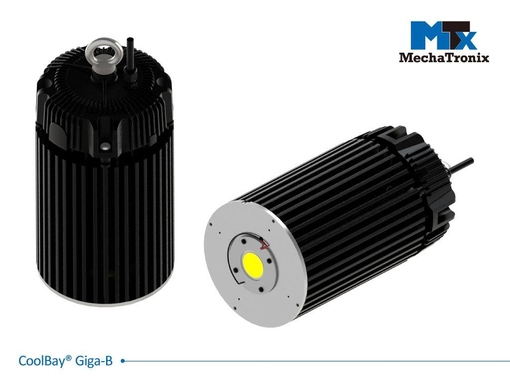 Mechatronix COOLBAY® GIGA-B Advanced High Bay LED Cooler with CoolTube® patented heat transfer design; Cooling performance up to 29,000 lm. ø152mmxH200mm; Rth 0.34°C/W; Mounting holes for Zhaga Book 3