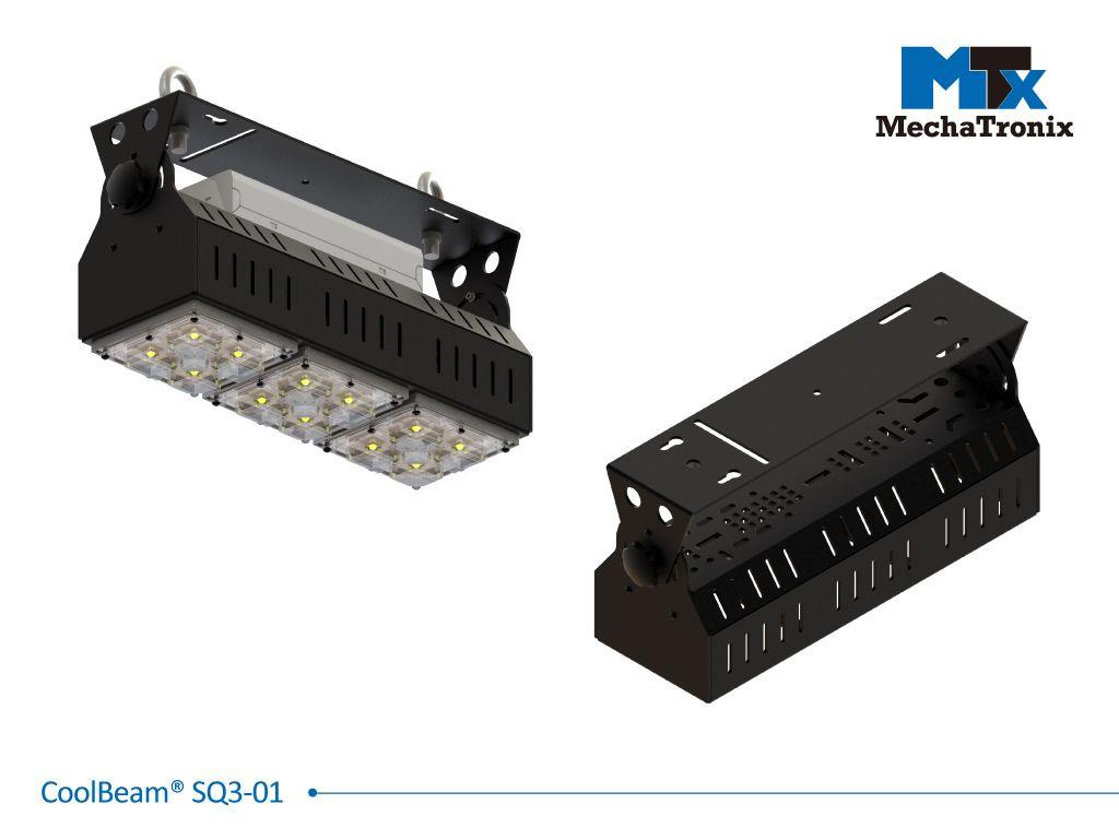 Mechatronix COOLBEAM® SQ3-01 Patented fixture kit accommodating 3 CoolBlock® SQ-01 2x2MX LED engines for industrial flood lights or high bay designs up to 19,000 lumen; W107mmxL316mmxH150.5mm; Black e