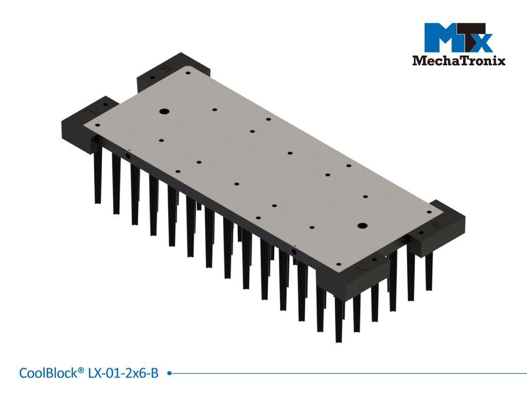 Mechatronix COOLBLOCK® LX-01-2X6-B Advanced high power rectangle Pin Fin LED Cooler for 2x6 LED engines from 4,400-8,700 lm; W80mmxL192mmxH45mm; Rth 1.09°C/W; Black electro-coating