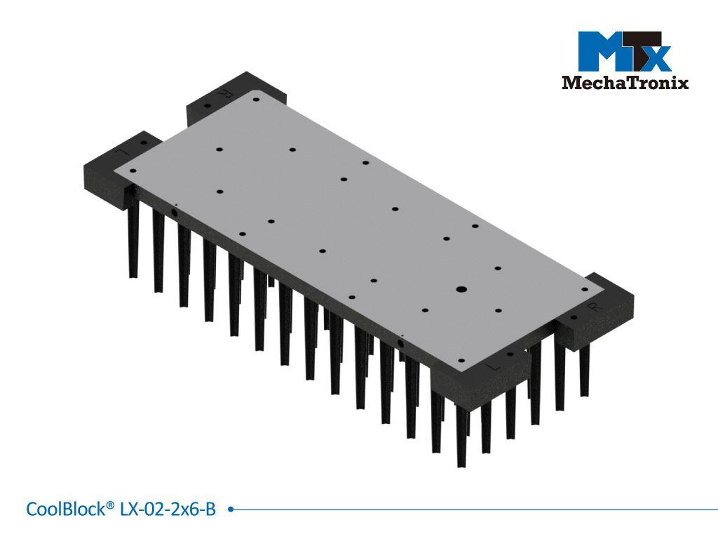 Mechatronix COOLBLOCK® LX-02-2X6-B Advanced high power rectangle Pin Fin LED Cooler for 2x6 LED engines from 4,400-8,700 lm; W80mmxL192mmxH45mm; Rth 1.09°C/W; Black electro-coating