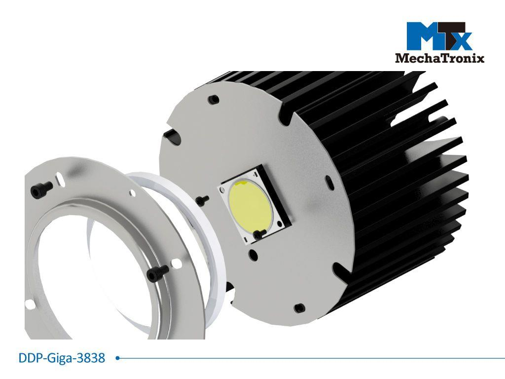 Mechatronix DPP-GIGA-3838 Dust protection plate for use with any 38x38mm COB mounted on the ModuLED Giga LED Cooler; Cable hole position for Mean Well HBG series LED driver