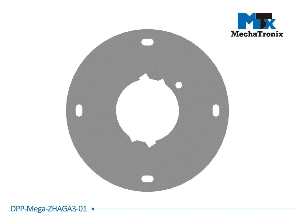 Mechatronix DPP-MEGA-ZHAGA3-01 Dust protection plate for use with any Zhaga book 3 LED module mounted on the ModuLED Mega LED Cooler; Cable hole position for Mean Well HBG-60 LED driver