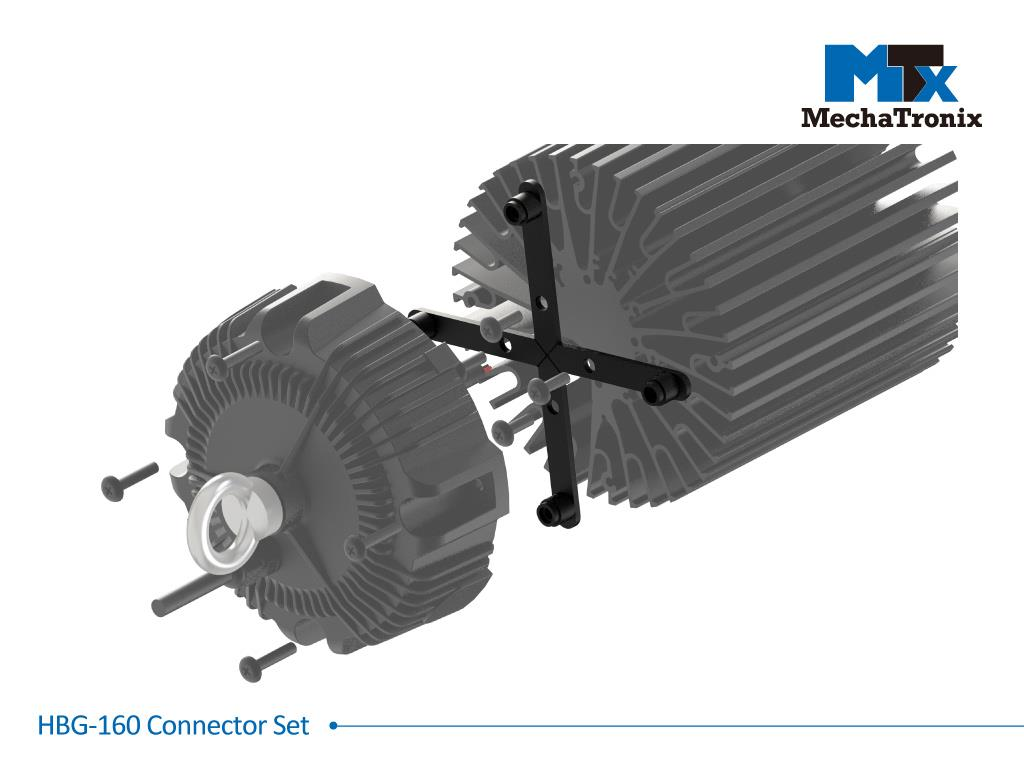 Mechatronix HBG-160 CONNECTOR SET Connector set for Mean Well HBG-160 and HBG-200 LED drivers with all ModuLED-HBG and CoolBay® series LED coolers. Creates a 11mm gap between the cooler and driver