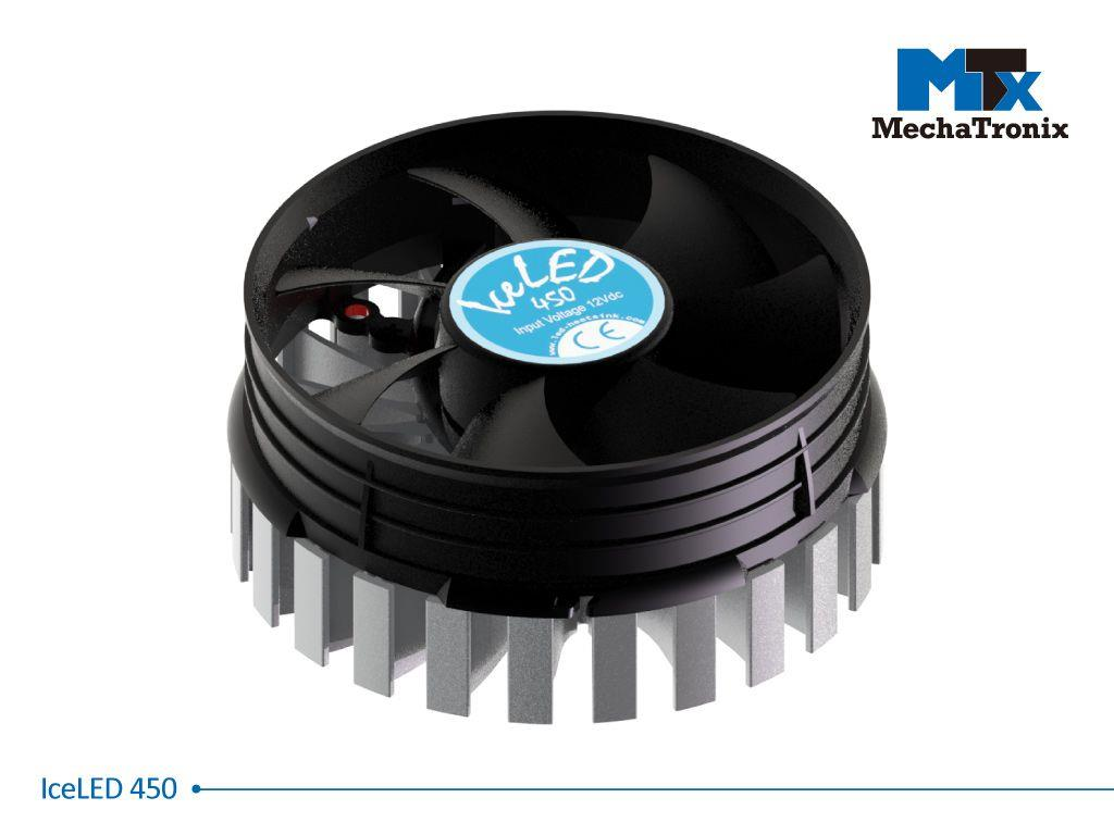 Mechatronix ICELED 450 Active LED Cooler for spot & downlights from 8,200-16,400 lm; ø99mmxH45mm; Rth 0.58°C/W; Fan voltage 12Vdc-0.6W