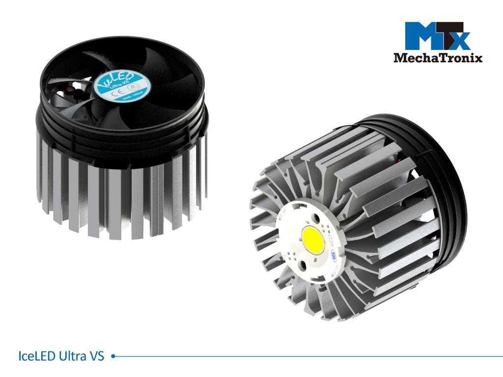 Mechatronix ICELED ULTRA VS Active LED Cooler for high bay and industrial designs from 14,500-29,000 lm; ø99mmxH75mm; Rth 0.26°C/W; Fan voltage 12Vdc-1.8W