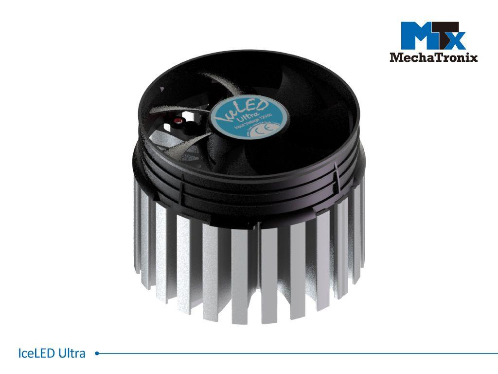 Mechatronix ICELED ULTRA Active LED Cooler for low bay. high bay and industrial designs up to 38,000 lm; ø99mmxH75mm; Rth 0.25°C/W; Fan voltage 12Vdc-2.76W