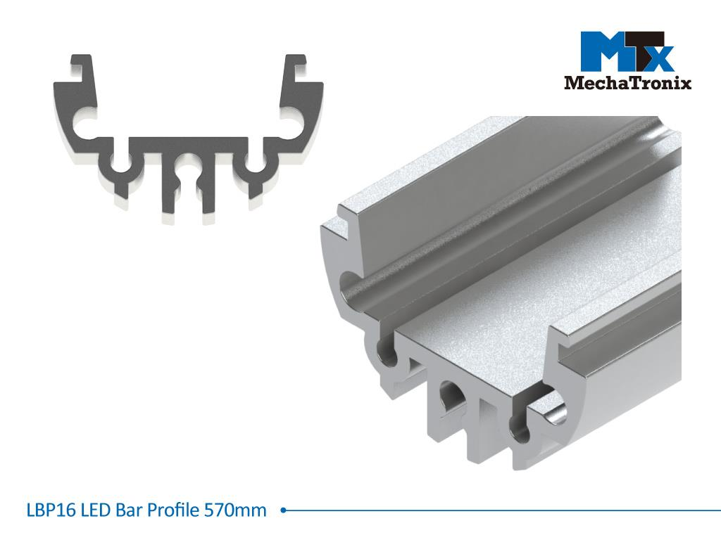Mechatronix LBP16EXT-570 LED bar profile for LED Strip or PCB in maximum W16mmxH1.0mm; Extrusion profile L570mm