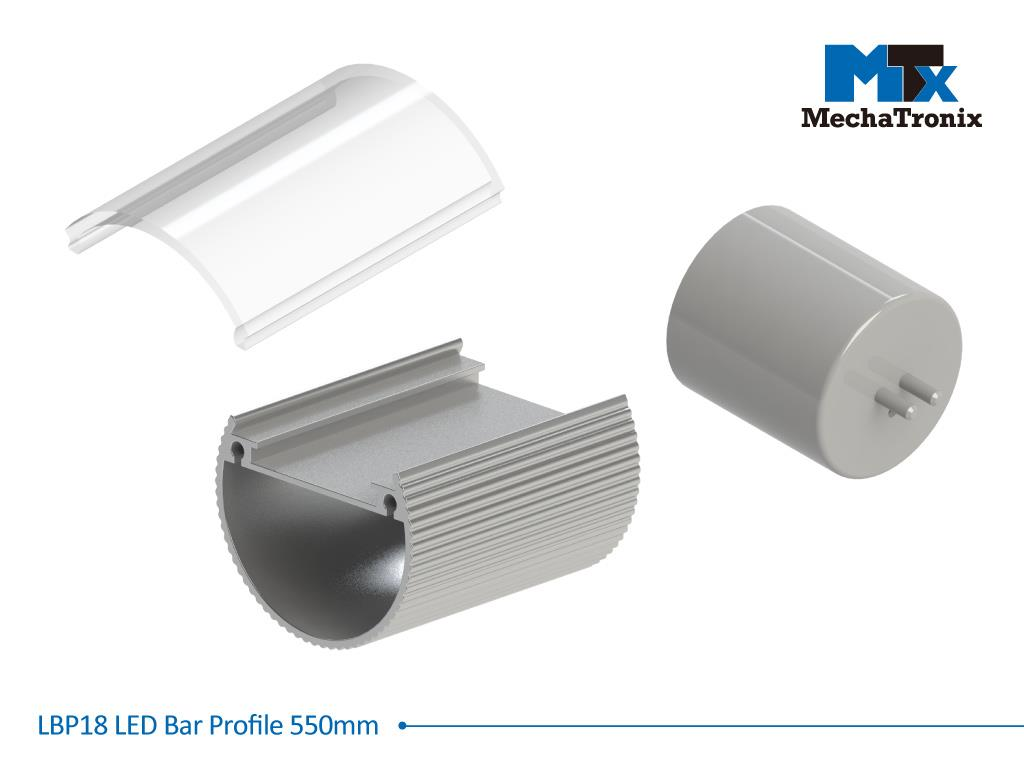 Mechatronix LBP18COV-550 LED bar profile for LED Strip or PCB in maximum W16mmxH1.0mm; Transparent cover; L550mm