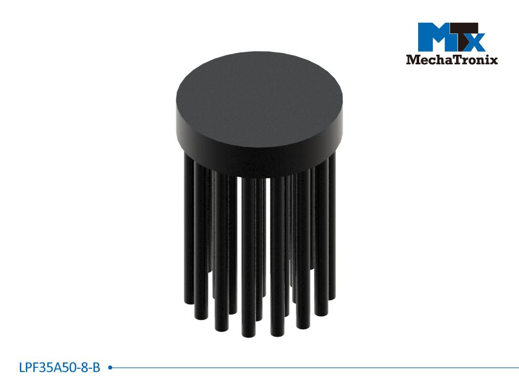 Mechatronix LPF35A50-8-B LED Pin Fin Cooler for spot and downlights from 650-1,300 lm; ø35mmxH50mm; Rth 7.41°C/W; 8mm solid base without mounting holes; Black Anodized
