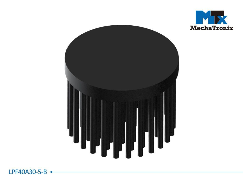 Mechatronix LPF40A30-5-B LED Pin Fin Cooler for spot and downlights from 500-1,000 lm; ø40mmxH30mm; Rth 9.3°C/W; 5mm solid base without mounting holes; Black Anodized