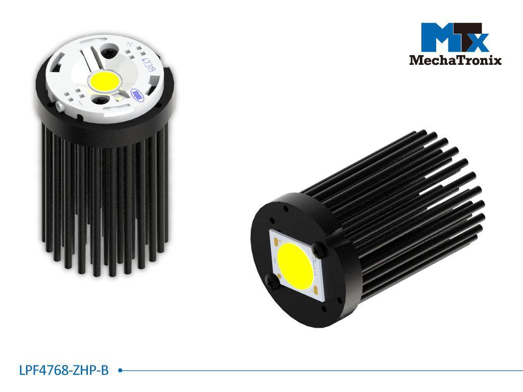 Mechatronix LPF4768-ZHP-B LED Pin Fin Cooler for spot and downlights from 1,300-2,500 lm; ø47mmxH68mm; Rth 3.9°C/W; Mounting holes for Zhaga book 3, 11 LED modules & 16x19mm, 20x24mm LED COB; Black An