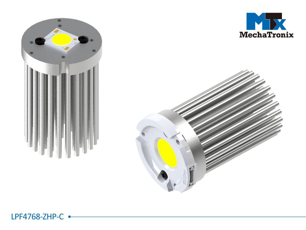 Mechatronix LPF4768-ZHP-C LED Pin Fin Cooler for spot and downlights from 1,300-2,500 lm; ø47mmxH68mm; Rth 3.9°C/W; Mounting holes for Zhaga book 3, 11 LED modules & 16x19mm, 20x24mm LED COB; Clear An