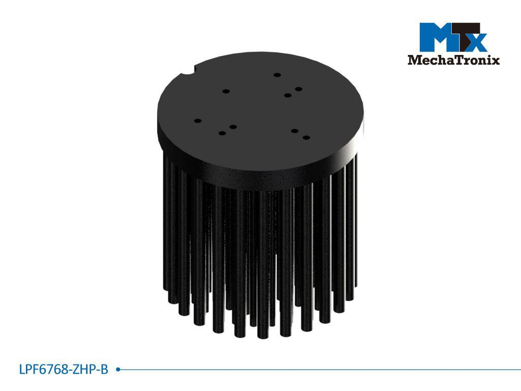 Mechatronix LPF6768-ZHP-B LED Pin Fin Cooler for spot and downlights from 2,300-4,600 lm; ø67mmxH68mm; Rth 2.1°C/W; Mounting holes for Zhaga book 3, 11 LED modules & 16x19mm, 20x24mm LED COB; Black An