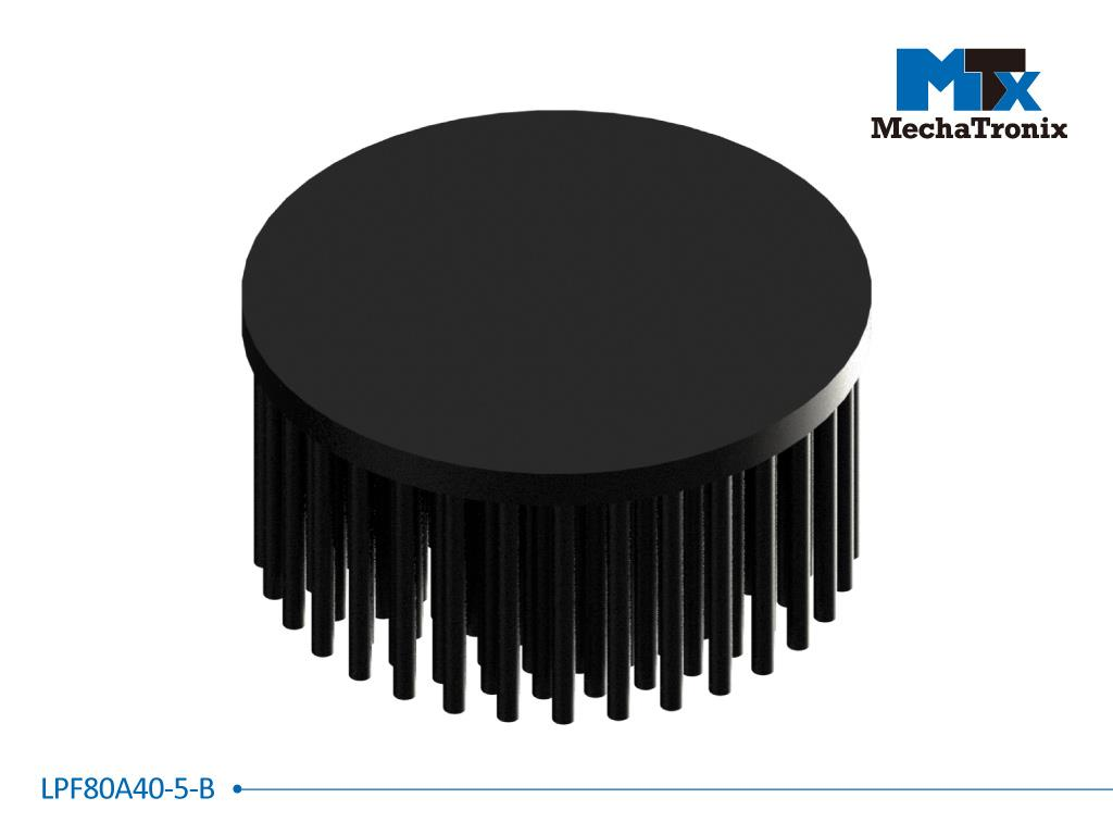 Mechatronix LPF80A40-5-B LED Pin Fin Cooler for spot and downlights from 1,900-3,700 lm; ø80mmxH40mm; Rth 2.6°C/W; 5mm without mounting holes; Black Anodized