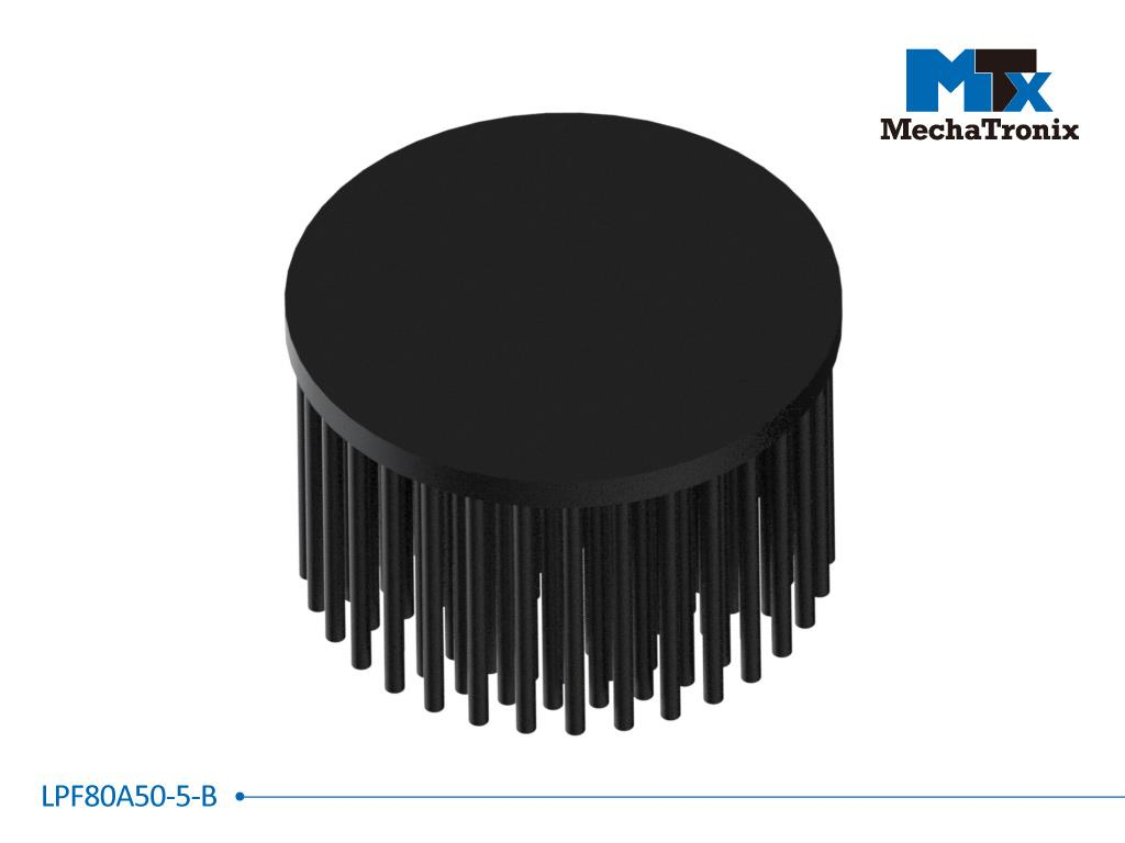 Mechatronix LPF80A50-5-B LED Pin Fin Cooler for spot and downlights from 2,000-4,000 lm; ø80mmxH50mm; Rth 2.34°C/W; 5mm without mounting holes; Black Anodized