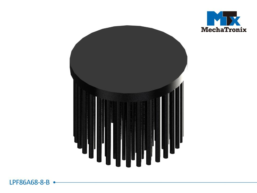 Mechatronix LPF86A68-8-B LED Pin Fin Cooler for spot and downlights from 3,300-6,600 lm; ø86mmxH68mm; Rth 1.46°C/W; 8mm solid base without mounting holes; Black Anodized