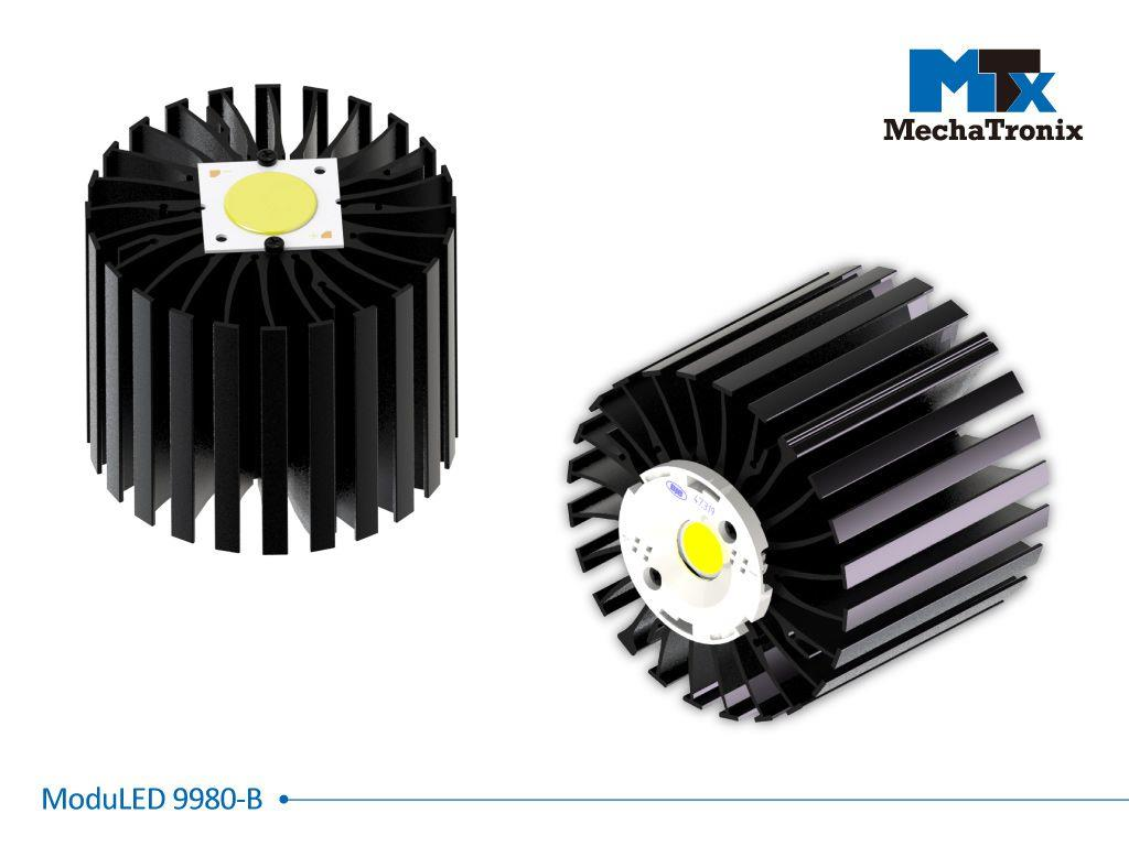 Mechatronix MODULED 9980-B Modular LED Star Cooler for spot and downlights from 4,700-9,400 lm; ø99mmxH80mm; Rth 1.02°C/W; Mounting holes for Zhaga book 3 LED modules & 25 mounting holes for all LED C