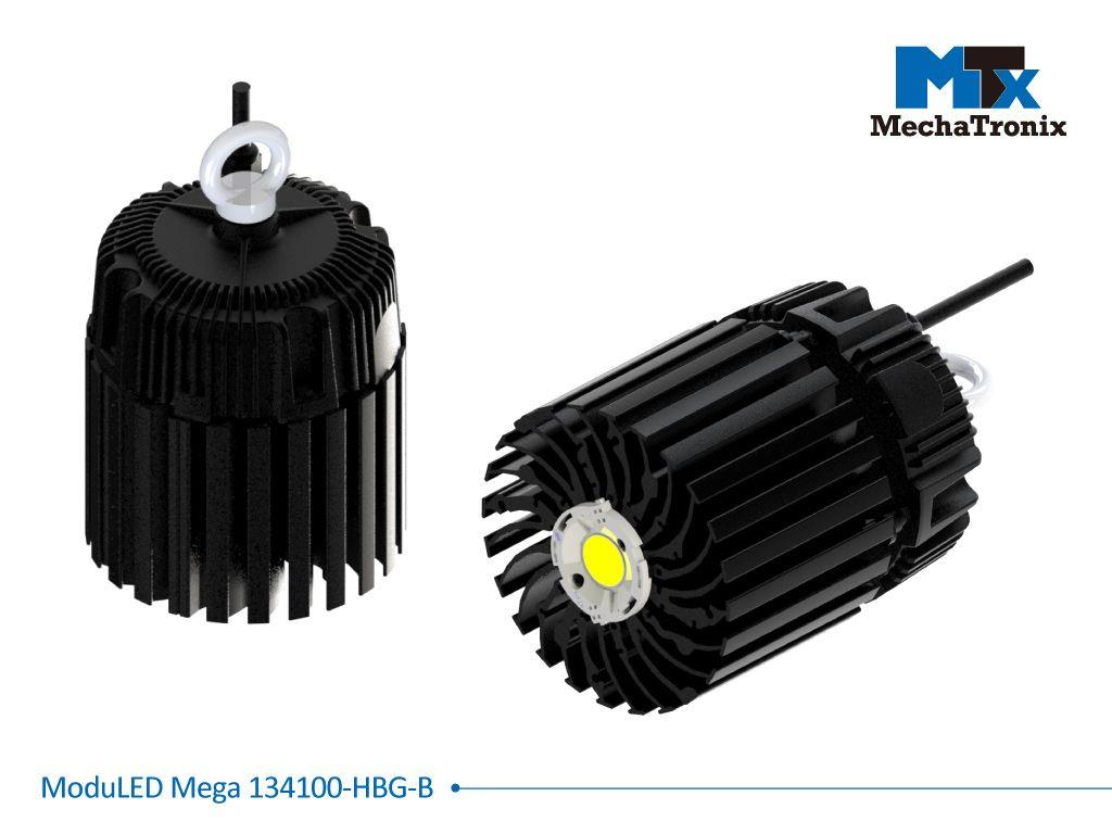 Mechatronix MODULED MEGA 134100-B-HBG Modular LED Star Cooler for low and high bay from 7,200-14,300 lm with Meanwell HBG series drivers; ø134mmxH100mm; Rth 0.67°C/W; Mounting holes for Zhaga book 3 L