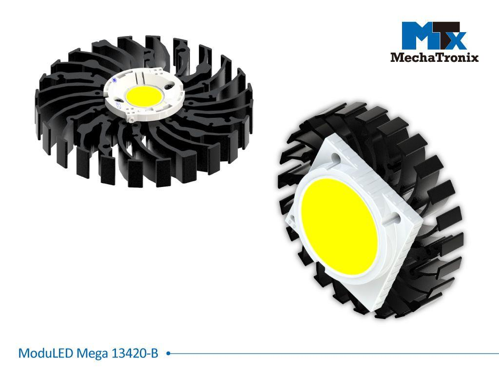 Mechatronix MODULED MEGA 13420-B Modular LED Star Cooler for low and high bay designs from 3,700-7,300 lm; ø134mmxH20mm; Rth 1.32°C/W; Mounting holes for Zhaga book 3 LED module & 36 mounting holes fo