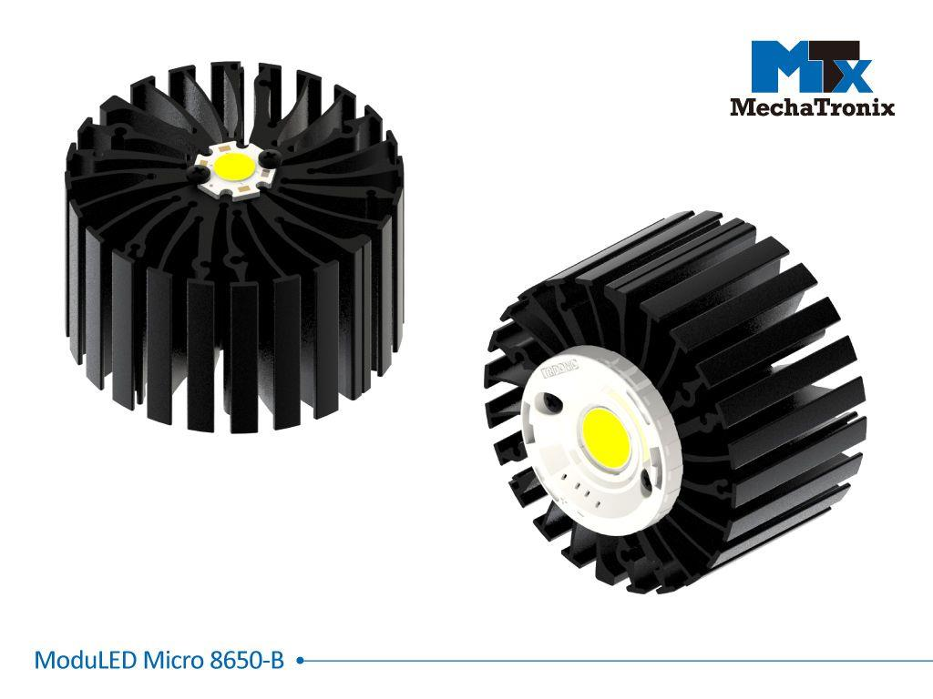 Mechatronix MODULED MICRO 8650-B Modular LED Star Cooler for spot and downlights from 3,200-6,400 lm; ø86mmxH50mm; Rth 1.5°C/W; Mounting holes for Zhaga book 3, 11 LED modules & 30 mounting holes for