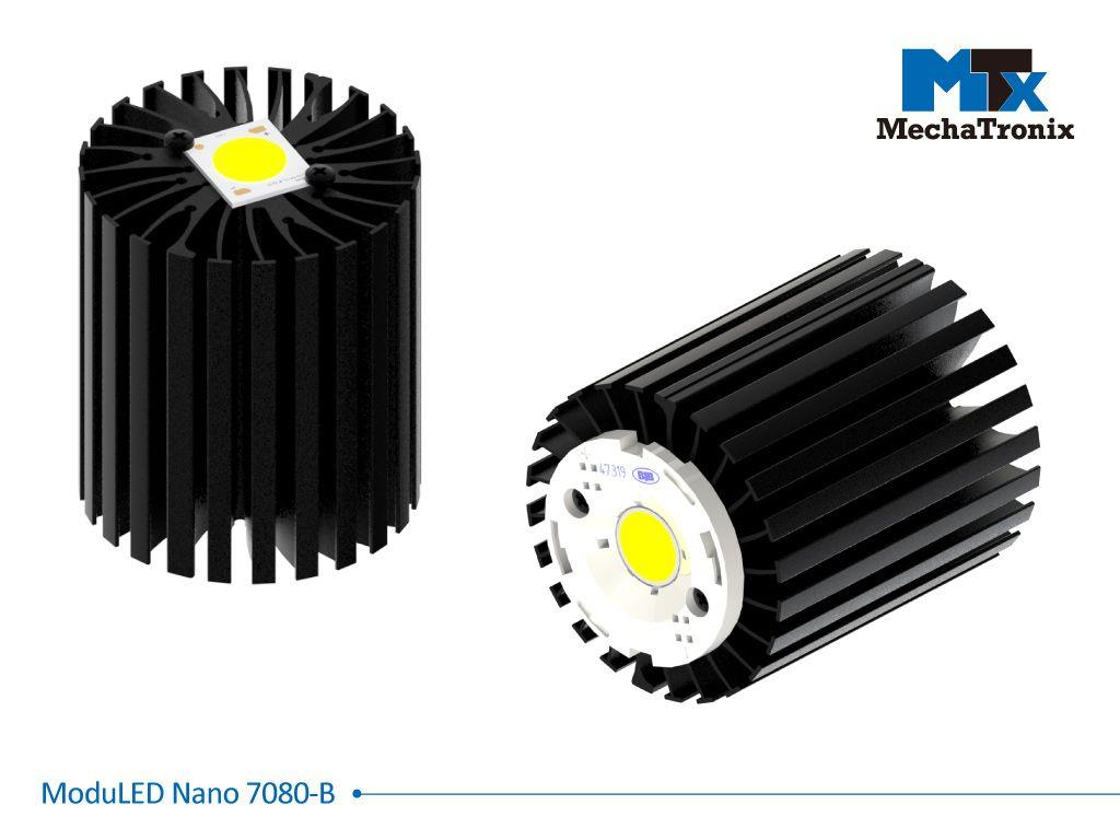 Mechatronix MODULED NANO 7080-B Modular LED Star Cooler for spot and downlights from 2,700-5,300 lm; ø70mmxH80mm; Rth 1.8°C/W; Mounting holes for Zhaga book 3, 11 LED modules & 20 mounting holes for a