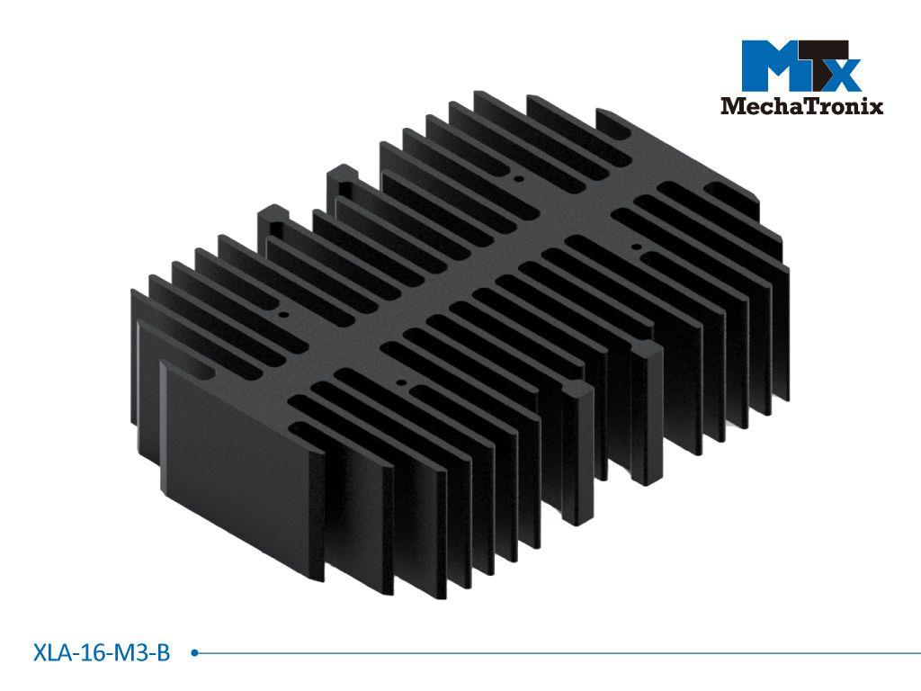 Mechatronix XLA-16-M3-B LED rectangular Cooler only for XLM LED module; Cooling performance 2,000-3,000 lm; W101mmxL140mmxH35mm; Black Anodized