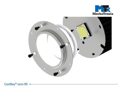 Mechatronix COOLBAY LENS 90 CLEAR High Bay glass lens set with beam angle 90°. uniform light dispersion with high transparency 97%; ø100mmxH35mm
