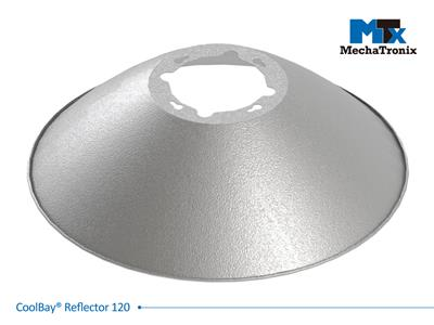 Mechatronix COOLBAY REFLECTOR 120 High Bay aluminium reflector set with beam angle 120°. uniform light dispersion with high reflectivity rate; ø495mmxH145mm