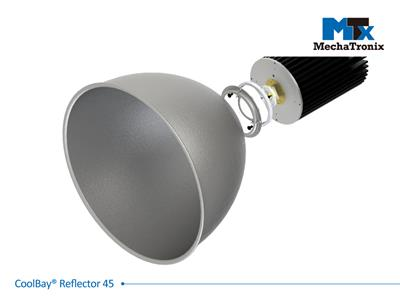 Mechatronix COOLBAY REFLECTOR 45 High Bay aluminium reflector set with beam angle 45°. uniform light dispersion with high reflectivity rate; ø415mmxH255mm