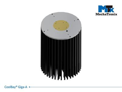 Mechatronix COOLBAY® GIGA-A Advanced High Bay LED Cooler with CoolTube® patented heat transfer design; Cooling performance up to 29,000 lm. ø152mmxH200mm; Rth 0.34°C/W; Mounting holes for Zhaga Book 3
