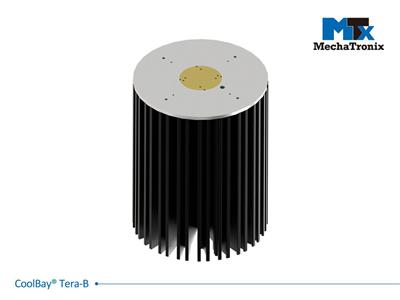 Mechatronix COOLBAY® TERA-B Advanced High Bay LED Cooler with CoolTube® patented heat transfer design; Cooling performance up to 44,000 lm. ø192mmxH250mm; Rth 0.22°C/W; Mounting holes for Zhaga Book 3