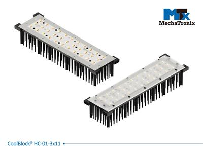 Mechatronix COOLBLOCK® HC-01-3x11-B Advanced high power rectangle Pin Fin LED Cooler for 3x11 LED engines from 10,000-20,000 lm; 250-300 ?mol/s; W98mmxL340mmxH61.5mm; Rth 0.47°C/W; Black electro-coati