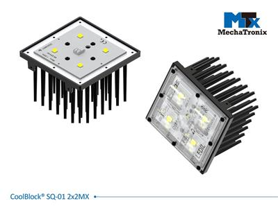 Mechatronix COOLBLOCK® SQ-01-2X2MX-B Square Pin Fin LED Cooler in 2x2MX format for industrial flood light, high mast or high bay luminaire. Single LED engine from 3,300-6,500 lm; W96mmxL96mmxH61.5mm;