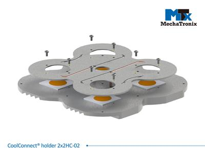 Mechatronix COOLCONNECT® HOLDER 2X2HC-02 LED holder for CoolFin® and CoolCube® series with (4x)COB/LOB 38x38mm; 2 LED engines placed in series with in 4 wires to control 2 individual strings.