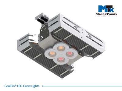 Mechatronix CoolFin® I RREQW 5RB HV 60 PWM Horticulture LED Top Grow Light; Indoor Cultivation; 600 Watts; Input 249-528 Vac; PPF 1500µmol/s; Growth Recipe - CoolGrow® I RREQW 9% Blue 20% Green 71% Re