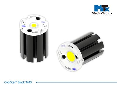 Mechatronix COOLSTAR® BLACK 3445 Design LED Star Cooler for narrow beam compact spot lights from 600-1,200 lm; ø34.5mm x H45mm; Rth 8.13°C/W; Mounting holes for Zhaga book 11 LED module & 2 mounting h