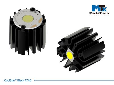 Mechatronix COOLSTAR® BLACK 4740 Design LED Star Cooler for spot and downlights from 1,000-2,000 lm; ø47mmxH40mm; Rth 5°C/W; Mounting holes for Zhaga book 3, book 11 LED module & 5 mounting holes for