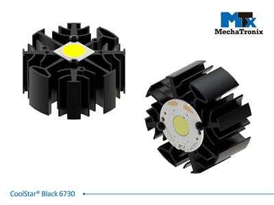 Mechatronix COOLSTAR® BLACK 6730 Design LED Star Cooler for spot and downlights from 1,600-3,100 lm; ø67mmxH30mm; Rth 3.13°C/W; Mounting holes for Zhaga book 3 LED module & 7 mounting holes for all LE