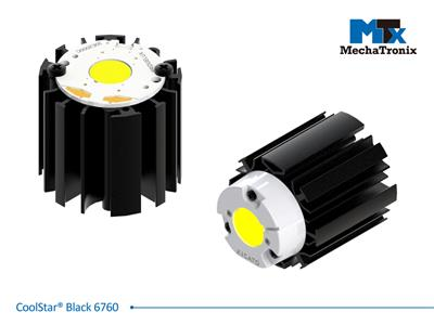 Mechatronix COOLSTAR® BLACK 6760 Design LED Star Cooler for spot and downlights from 2,100-4,200 lm; ø67mmxH60mm; Rth 2.27°C/W; Mounting holes for Zhaga book 3 LED module & 7 mounting holes for all LE