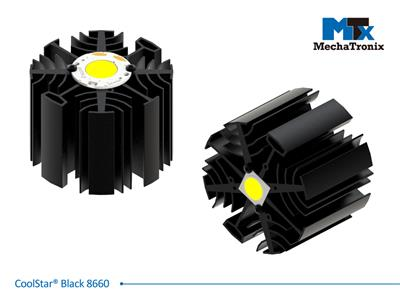 Mechatronix COOLSTAR® BLACK 8660 Design LED Star Cooler for spot and downlights from 3,100-6,100 lm; ø86mmxH60mm; Rth 1.56°C/W; Mounting holes for Zhaga book 3 LED module & 7 mounting holes for all LE
