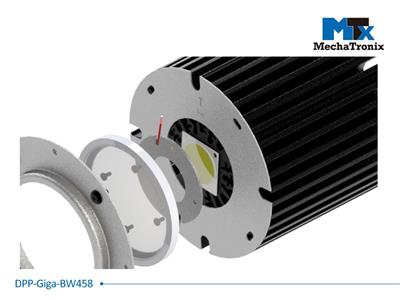 Mechatronix DPP-GIGA-BW458 Dust protection plate for use with Bender Wirth 38x38mm COB holder mounted on the ModuLED Giga LED Cooler; Cable hole position for Mean Well HBG series LED driver