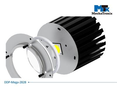 Mechatronix DPP-MEGA-2828-02 Dust protection plate for use with any 28x28mm COB mounted on the ModuLED Mega LED Cooler; Cable hole position for Mean Well HBG-100 LED driver