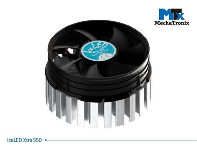 Mechatronix ICELED XTRA 550 Active LED Cooler for spot & downlights from 10,400-21,000 lm; ø99mmxH55mm; Rth 0.46°C/W; Fan voltage 12Vdc-0.6W