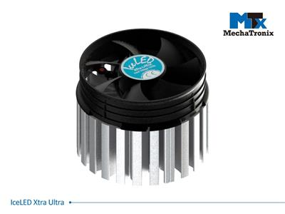 Mechatronix ICELED XTRA ULTRA Active LED Cooler for low bay. high bay and industrial designs up to 38,000 lm; ø99mmxH75mm; Rth 0.25°C/W; Fan voltage 12Vdc-2.76W