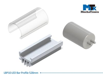Mechatronix LBP10EXT-528 LED bar profile for LED Strip or PCB in maximum W10mmxH1.6mm; Extrusion profile L528.6mm