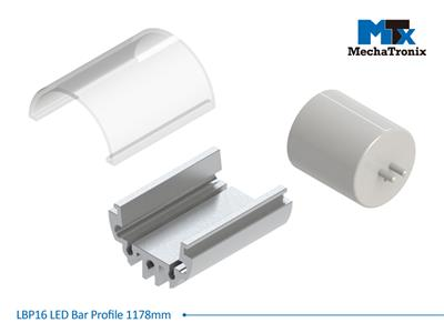Mechatronix LBP16COV-1178 LED bar profile for LED Strip or PCB in maximum W16mmxH1.0mm; Transparent cover; L1178mm