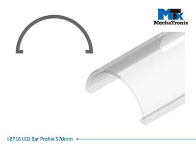 Mechatronix LBP16COV-570 LED bar profile for LED Strip or PCB in maximum W16mmxH1.0mm; Transparent cover; L570mm