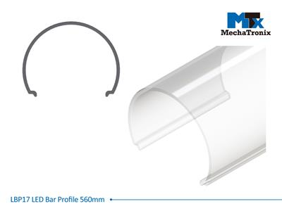 Mechatronix LBP17COV-560 LED bar profile for LED Strip or PCB in maximum W16mmxH1.0mm; Transparent cover; L560mm