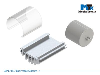 Mechatronix LBP17EXT-560 LED bar profile for LED Strip or PCB in maximum W16mmxH1.0mm; Extrusion profile L560mm