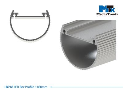 Mechatronix LBP18EXT-1168 LED bar profile for LED Strip or PCB in maximum W16mmxH1.6mm; Extrusion profile L1168mm